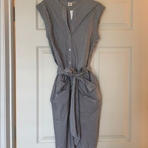 Dark Gray and White striped Gap dress